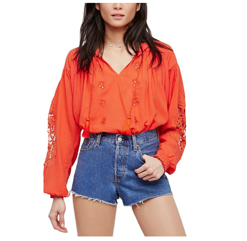Free People Tropical Summer Cotton Gauze Eyelet Embroidered Hooded Top - S - Luxe Fashion Finds