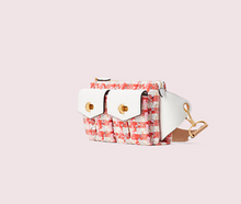 Load image into Gallery viewer, Kate Spade Women's Cargo Tweed Leather Medium Sling Belt Bag, White/Pink