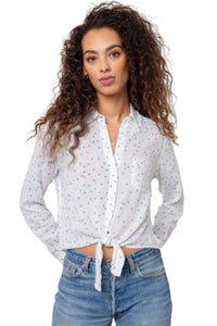 Rails Women's Val Tie-Front Star Print Linen Blend White Button Up Shirt