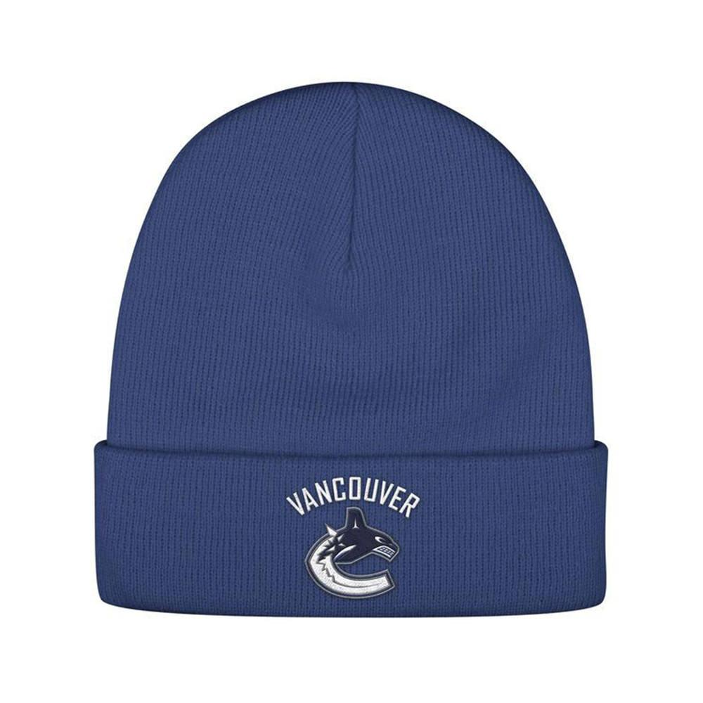 Reebok Vancouver Canucks NHL Logo Embroidered Cuff Knit Blue Beanie Toque