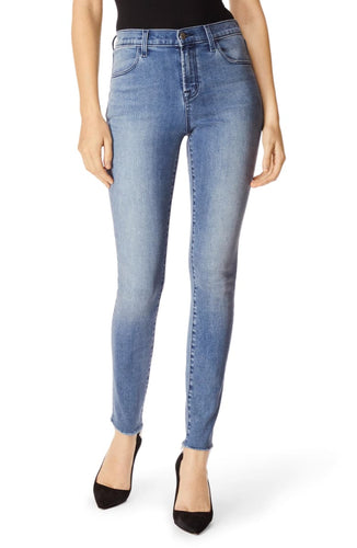 J Brand Women's Maria High Waist Raw Hem Skinny Blue Faded Jeans, Vega - Luxe Fashion Finds