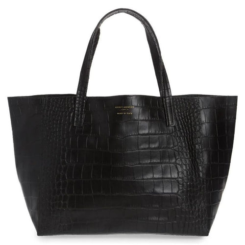 Kurt Geiger Women's Violet Croc Embossed Large Black Leather Slouchy Tote