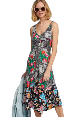 Anthropologie Women's Violette Sleeveless V-Neck Floral Ruffle A-Line Dress - 2 - Luxe Fashion Finds