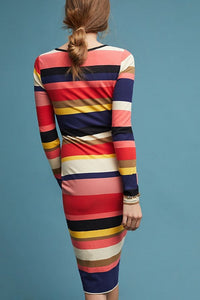 Anthropologie Women's Tracy Reese Striped Column Bodycon Rib Stretch Dress - Luxe Fashion Finds