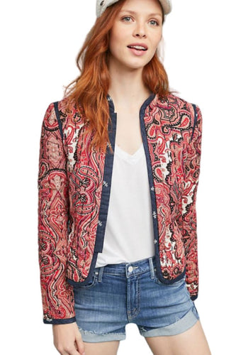 Anthropologie Women's Waverly Quilted Paisley Red Blue Cropped Jacket Blazer. - Luxe Fashion Finds