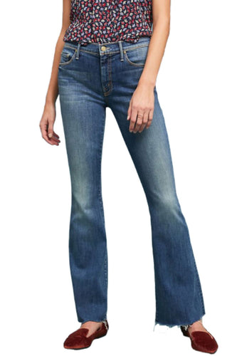 Mother Women's Weekender Mid-Rise Bootcut Fray Flare Jeans, Rough Enough 26