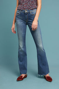 Mother Women's Weekender Mid-Rise Bootcut Fray Flare Jeans, Rough Enough