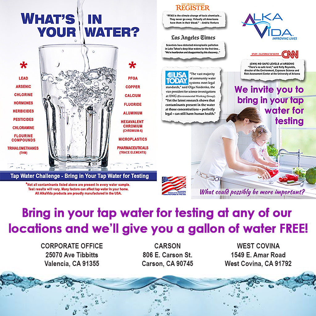 Bring in your tap water for testing and receive a gallon of AlkaVida water FREE