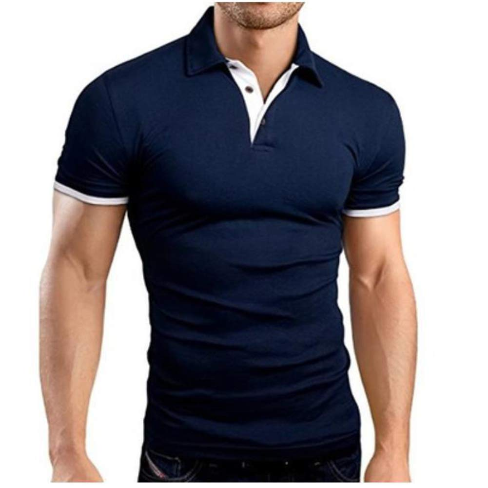 Zehui Camiseta de Hombres, Polo Shirt, Camisa de Manga Corta Hit Color Casual Tops Simples