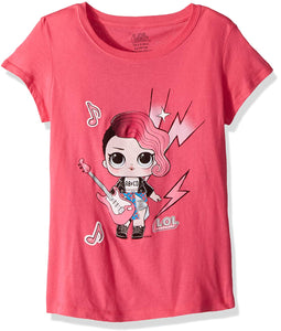 L.O.L. Surprise! Big Girls' Glee Club Rocker Short Sleeve T-Shirt, Hot Pink, M-8/10