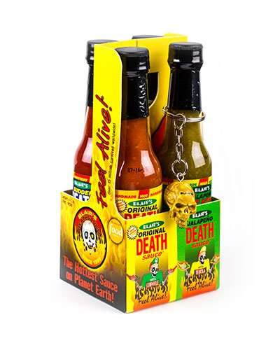 Blair's Death Sauce Mini 4-Pack brought to you by one of the World's most respected hot sauce makers, Blair's Death Sauce.