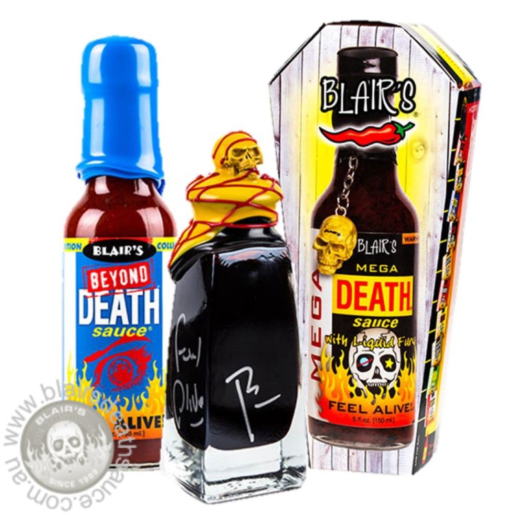 Blair's Lethal Dose Pack - Beyond Death & 3AM Reserve & Mega Death. This is the ultimate hot sauce pack for the ultimate chilli connoisseur! Available exclusively in Australia at www.blairsdeathsauce.com.au