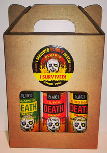 Hot Sauce three pack of Blair's Death Sauces, featuring the next-gen version of Ultra Death Sauce, presented in a gift pack / carry holder.