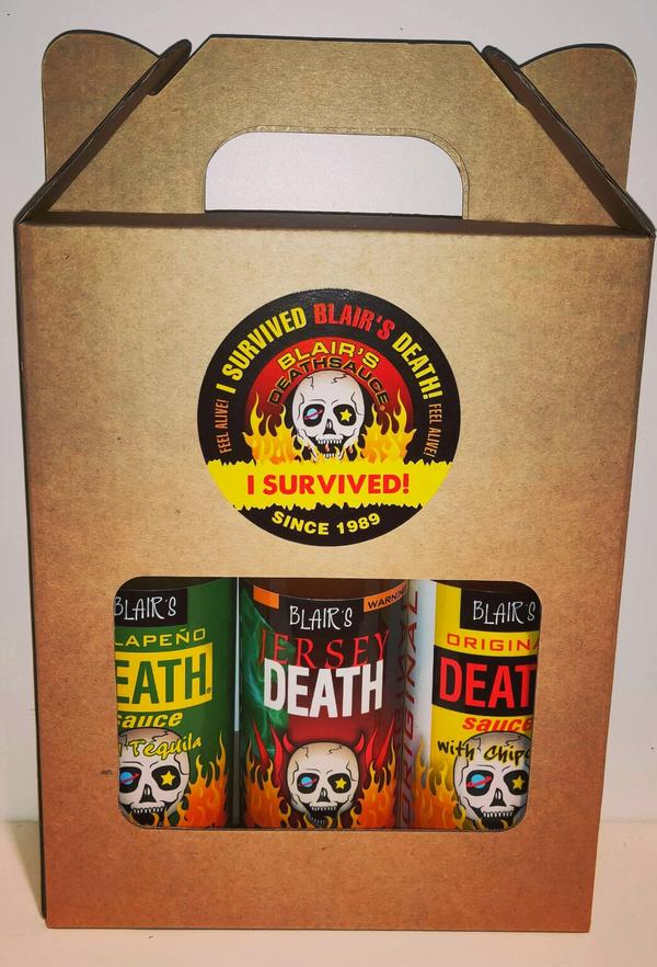 Hot Sauce three pack of Blair's Death Sauces, featuring the all new Jersey Death 2.0, presented in a gift pack / carry holder.