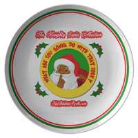 What Are you Gonna Do With That Fork: (Black Santa) Dinner Plate