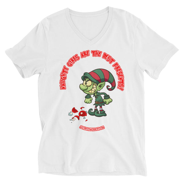 Naughty Girls Are The Best Presents: Christmas V-Neck T-Shirt