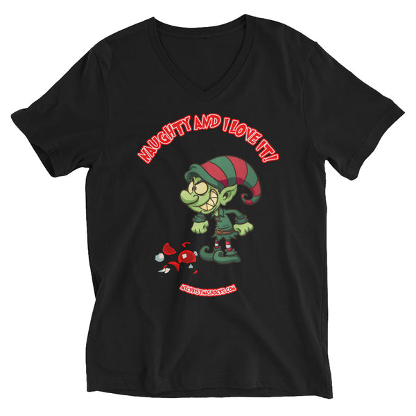 Naughty And I Love It: Christmas V-Neck T-Shirt