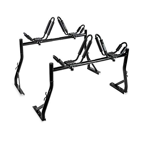 AA-Racks Model X35 Truck Rack with 8 Non-Drilling C-Clamps and 2 Sets Kayak J-Racks