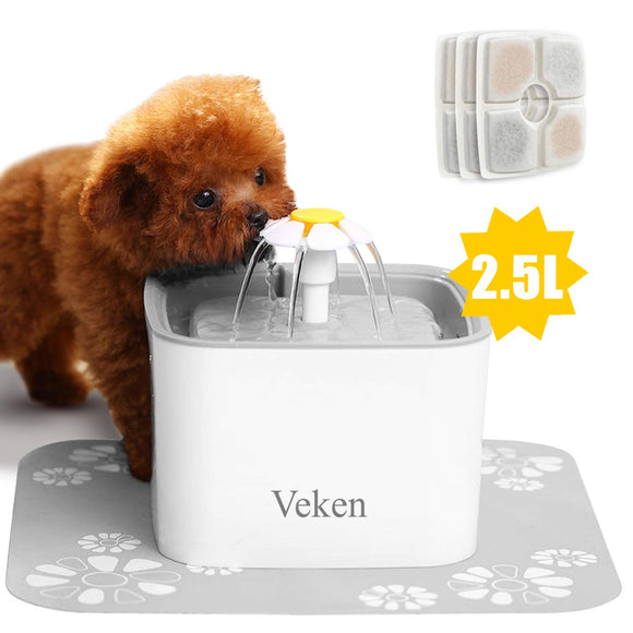 Veken Pet Fountain, 84oz/2.5L Automatic Cat Water Fountain Dog Water Dispenser