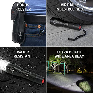 LED Tactical Flashlight S1000 [2 PACK] - High Lumen, Zoomable, 5 Modes, Water Resistant, Handheld Light - Garrison City Gadgets