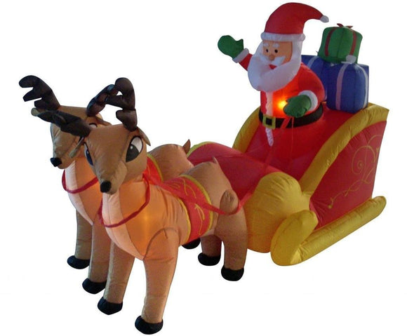 6 Foot Long Christmas Inflatable Santa on Sleigh with Reindeer Yard Decoration garrison-city-gadgets.myshopify.com [option1] [option2] [option3]