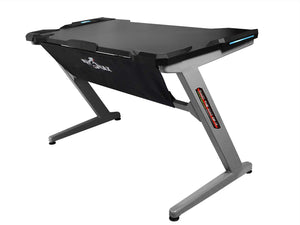 Drakon PK-101 Gaming Desk with LED, Z-Shape Compter PC Gaming Desk for E-Sport (Black/Grey)