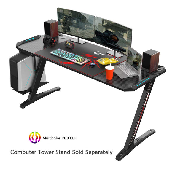 EUREKA ERGONOMIC Z60 Gaming Desk 60'' Z Shaped Large PC Computer Gaming Desk