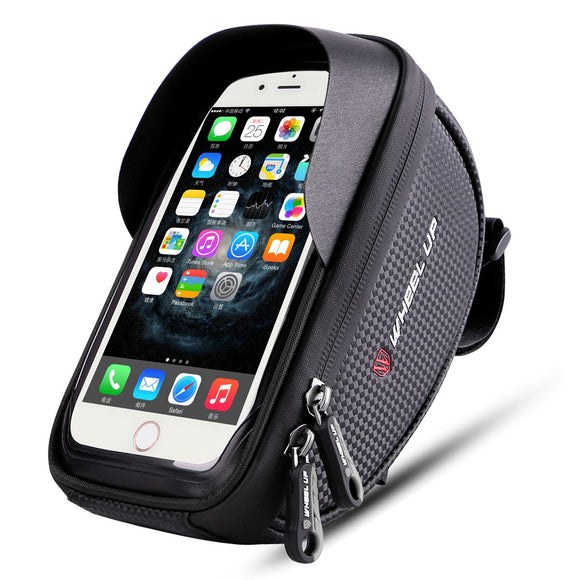 Wallfire Bike Phone Mount Bag, Bicycle Frame Bike Handlebar Bags with Waterproof Touch Screen Phone Case ... (Black)