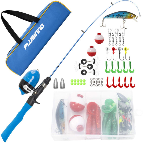 PLUSINNO Kids Fishing Pole with Travel Bag, Telescopic Fishing Rod and Reel Combo garrison-city-gadgets.myshopify.com [option1] [option2] [option3]