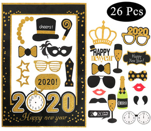 New Years Eve Party Supplies 2020, New Years Photo Booth Props Pack Of 33