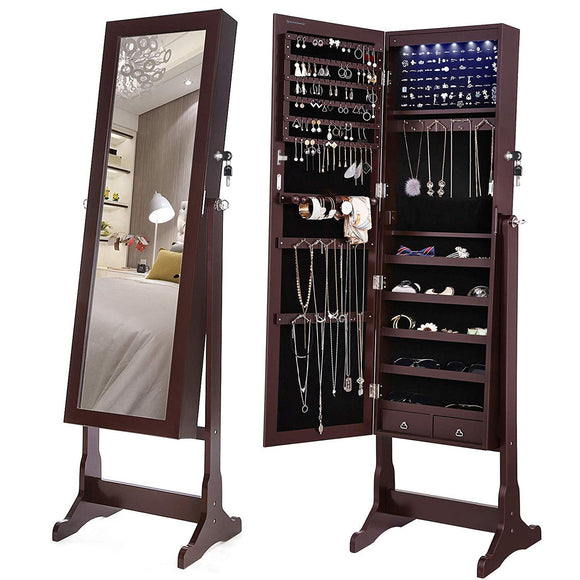 SONGMICS 6 LEDs Mirror Jewelry Cabinet Armoire, Lockable Free Standing Jewelry Organizer, Large Capacity with 2 Drawers, Dark Brown UJJC94K garrison-city-gadgets.myshopify.com [option1] [option2] [option3]