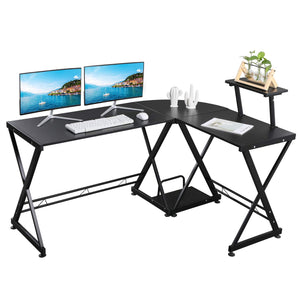 "GreenForest L Shaped Office Computer Corner Gaming Desk with Moveable Shelf, 58"" x 44"" PC Table Workstation for Home Office, Black"