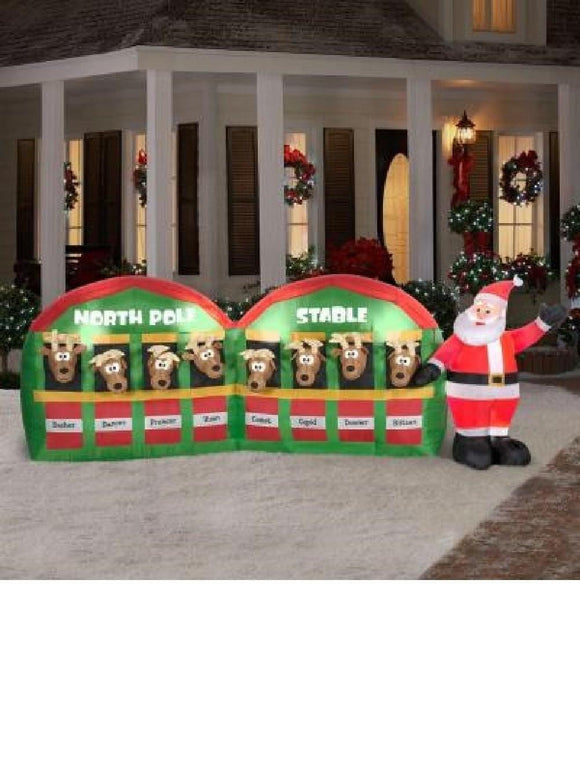 11 ft Inflatable Santa Stable with 8 Reindeer Christmas Holiday garrison-city-gadgets.myshopify.com [option1] [option2] [option3]