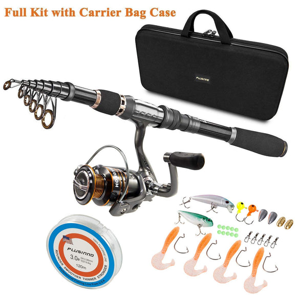 PLUSINNO Telescopic Fishing Rod and Reel Combos Full Kit, Spinning Fishing Gear garrison-city-gadgets.myshopify.com [option1] [option2] [option3]