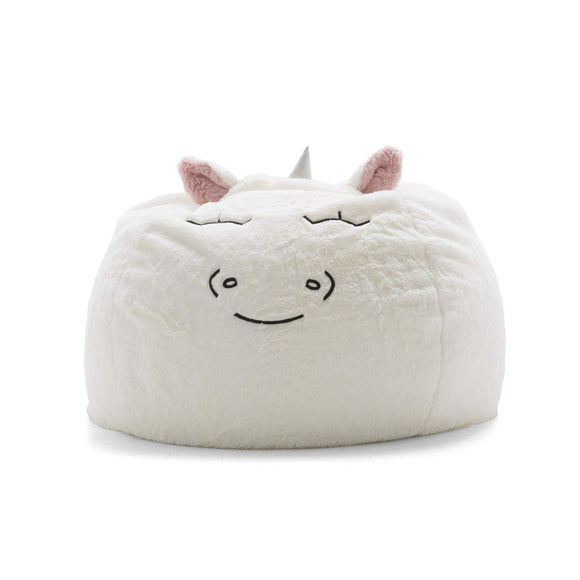Big Joe Lux Wild Bunch Unicorn, Super Soft Plush Bean Bag, White