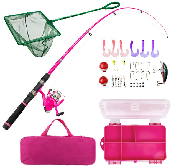 Lanaak Pink Fishing Pole and Tackle Box - Telescoping Rod with Spinning Reel garrison-city-gadgets.myshopify.com [option1] [option2] [option3]