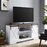 "WE Furniture TV Stand, 58"", White/Rustic Oak garrison-city-gadgets.myshopify.com [option1] [option2] [option3]"