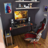 "Gaming Desk 47"" with Monitor Shelf Gaming Table Home Computer Desk with Cup Holder and Headphone Hook Gamer Workstation Game Table (47"" W x 29'' D)"