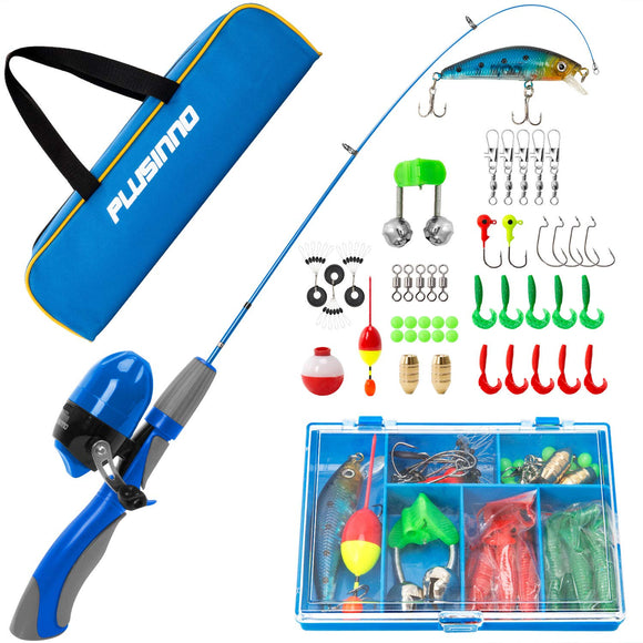 PLUSINNO Kids Fishing Pole,Portable Telescopic Fishing Rod and Reel Full Kits garrison-city-gadgets.myshopify.com [option1] [option2] [option3]