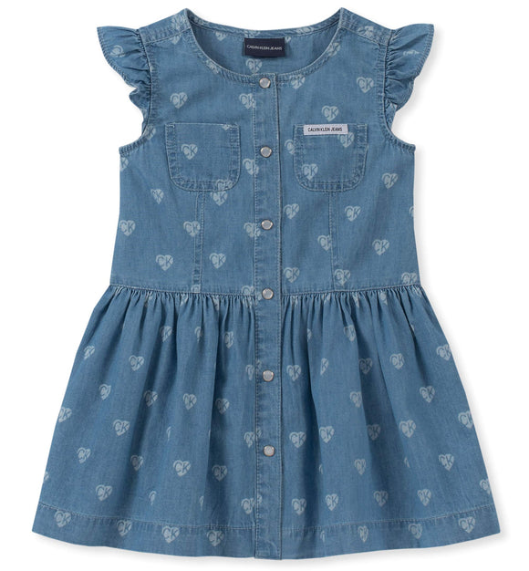 Calvin Klein Girls' Little Denim Dress, Light wash Blue Print, 5