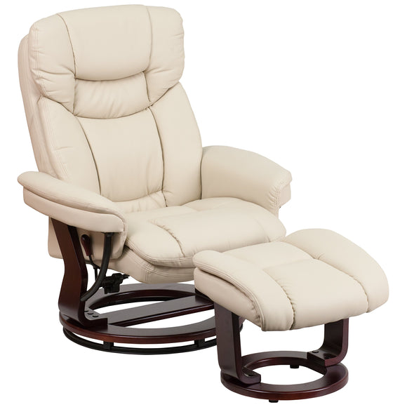 Flash Furniture Recliner Chair with Ottoman | Beige LeatherSoft Swivel Recliner Chair garrison-city-gadgets.myshopify.com [option1] [option2] [option3]