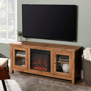 "WE Furniture Traditional Wood Fireplace Stand for TV's up to 64"" Living Room Storage, Barnwood Brown garrison-city-gadgets.myshopify.com [option1] [option2] [option3]"
