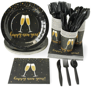 New Year Disposable Dinnerware Set - Serves 24 - Festive Holiday Party Supplies