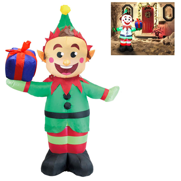 Joiedomi 5 Foot Elf with Present Inflatable LED Light Up Christmas Xmas for Blow Up garrison-city-gadgets.myshopify.com [option1] [option2] [option3]