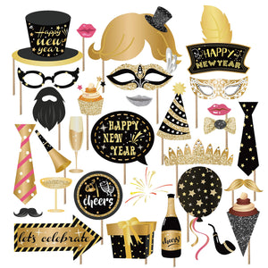 Kristin Paradise 25Pcs New Years Eve Photo Booth Props with Stick, 2020 NYE