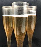 Gold Glitter Plastic Classicware Glass Like Champagne Wedding Parties Toasting Flutes (1 Box = Quantity 30)