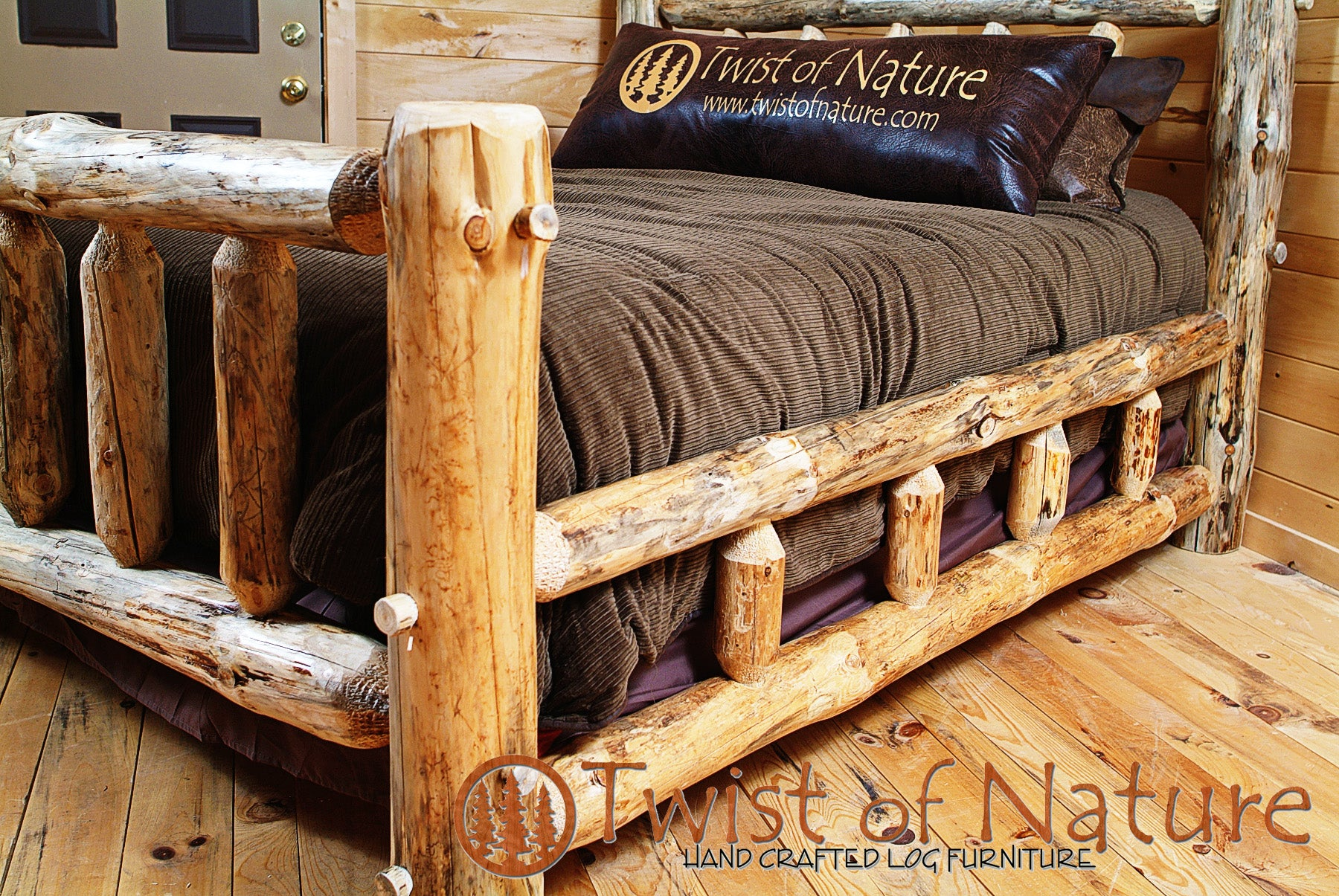 Small Spindle Double Log Sided Bed (Not Kit Form, Ships Freight)
