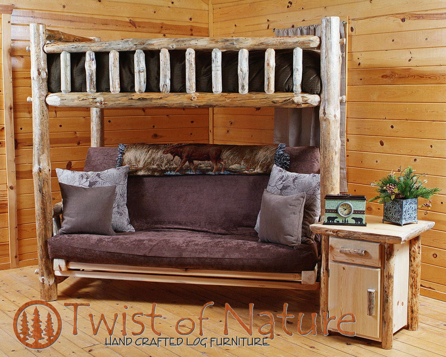 Log Futon Bunk Bed