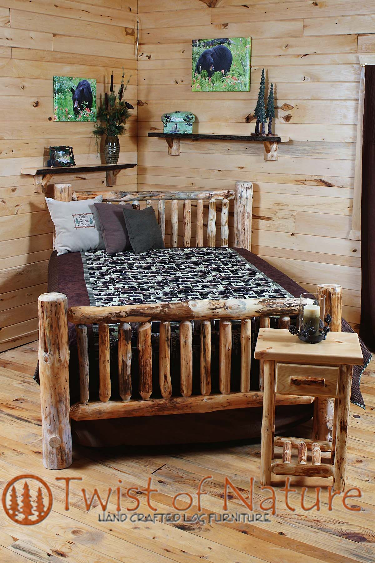 Small Spindle Single Log Sided Bed