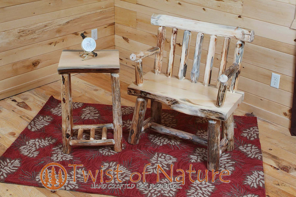 Log Slab Bench w/ Back & Arms